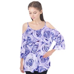 Electric white and blue roses Flutter Tees