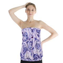 Electric white and blue roses Strapless Top