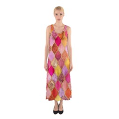 Warm moroccan mosaid Sleeveless Maxi Dress