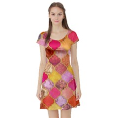 Warm moroccan mosaid Short Sleeve Skater Dress