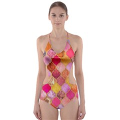 Warm moroccan mosaid Cut-Out One Piece Swimsuit