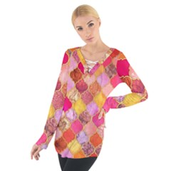 Warm moroccan mosaid Women s Tie Up Tee