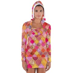 Warm moroccan mosaid Women s Long Sleeve Hooded T-shirt