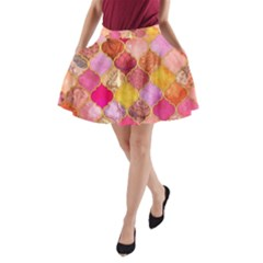 Warm moroccan mosaid A-Line Pocket Skirt