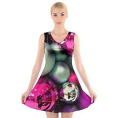 Christmas garlands V-Neck Sleeveless Skater Dress