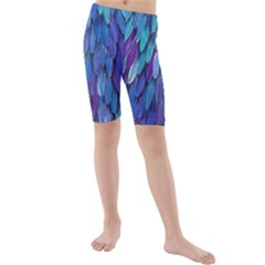 Blue bird feather Kids  Mid Length Swim Shorts