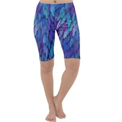 Blue bird feather Cropped Leggings