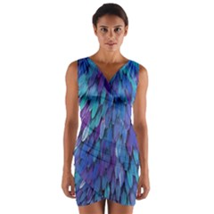 Blue bird feather Wrap Front Bodycon Dress