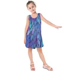Blue bird feather Kids  Sleeveless Dress