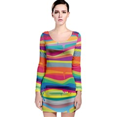 Melting paint Long Sleeve Bodycon Dress