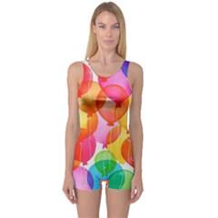 Rainbow balloon One Piece Boyleg Swimsuit