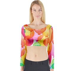 Rainbow balloon Long Sleeve Crop Top