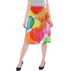 Rainbow balloon Midi Beach Skirt