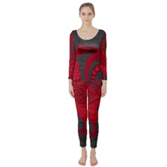 Red fire chicken year Long Sleeve Catsuit