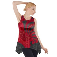 Red fire chicken year Side Drop Tank Tunic