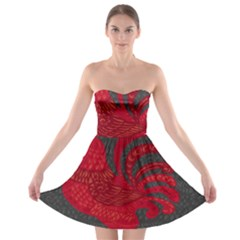 Red fire chicken year Strapless Bra Top Dress
