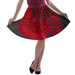 Red fire chicken year A-line Skater Skirt