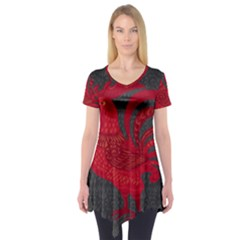 Red fire chicken year Short Sleeve Tunic