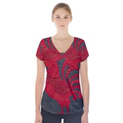 Red fire chicken year Short Sleeve Front Detail Top