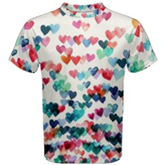 Cute rainbow hearts Men s Cotton Tee