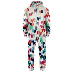Cute rainbow hearts Hooded Jumpsuit (Men)