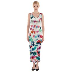 Cute rainbow hearts Fitted Maxi Dress