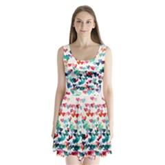 Cute rainbow hearts Split Back Mini Dress