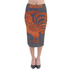 Chicken year Velvet Midi Pencil Skirt