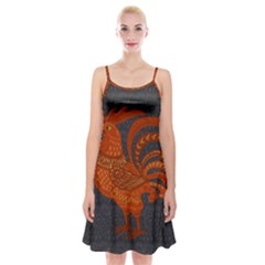 Chicken year Spaghetti Strap Velvet Dress