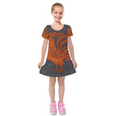 Chicken year Kids  Short Sleeve Velvet Dress