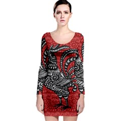 Year of the Rooster Long Sleeve Bodycon Dress
