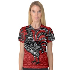 Year of the Rooster Women s V-Neck Sport Mesh Tee