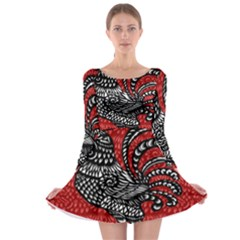 Year of the Rooster Long Sleeve Skater Dress