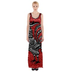 Year of the Rooster Maxi Thigh Split Dress