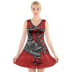 Year of the Rooster V-Neck Sleeveless Skater Dress