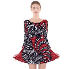 Year of the Rooster Long Sleeve Velvet Skater Dress