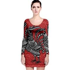 Year of the Rooster Long Sleeve Velvet Bodycon Dress
