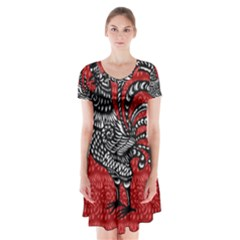 Year of the Rooster Short Sleeve V-neck Flare Dress