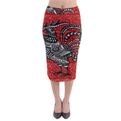 Year of the Rooster Midi Pencil Skirt
