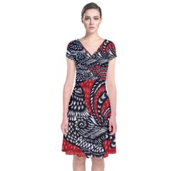 Year of the Rooster Short Sleeve Front Wrap Dress
