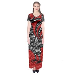 Year of the Rooster Short Sleeve Maxi Dress