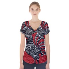 Year of the Rooster Short Sleeve Front Detail Top