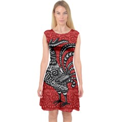 Year of the Rooster Capsleeve Midi Dress