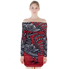 Year of the Rooster Long Sleeve Off Shoulder Dress