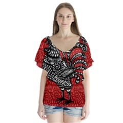 Year of the Rooster Flutter Sleeve Top
