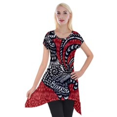 Year of the Rooster Short Sleeve Side Drop Tunic
