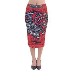 Year of the Rooster Velvet Midi Pencil Skirt
