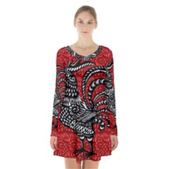 Year of the Rooster Long Sleeve Velvet V-neck Dress