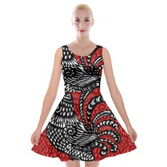 Year of the Rooster Velvet Skater Dress