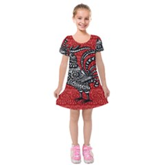 Year of the Rooster Kids  Short Sleeve Velvet Dress